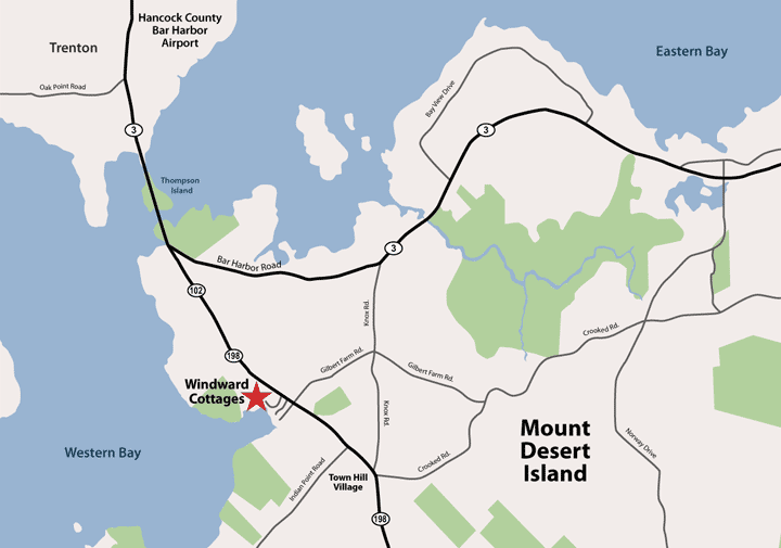 Location map of Windward Cottages
